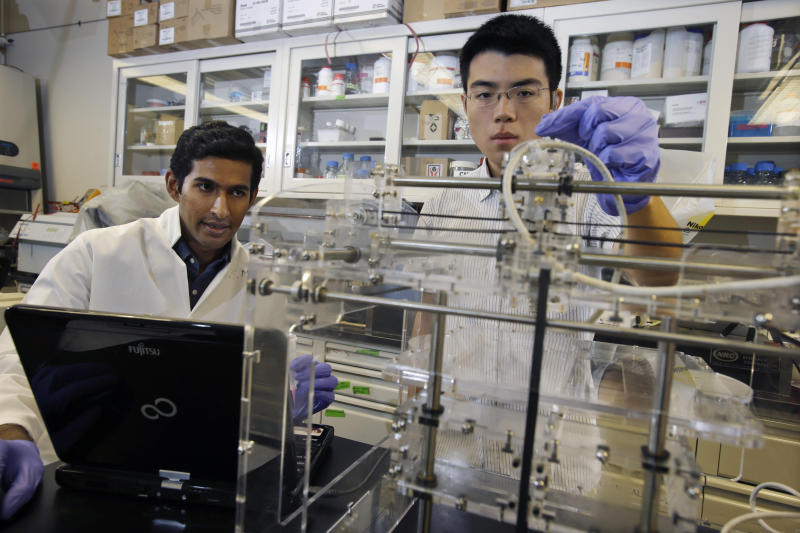 """In this Thursday, June 27, 2013 photo, Princeton University graduate student Manu Mannoor, left, and Ziwen Jiang, a student from Peddie High School in Hightstown, N.J., prepare to use a 3-D printer Thursday, June 27, 2013, in Princeton, N.J. The scientists at Princeton University have created an ear with an off-the-shelf 3-D printer that can """"hear"""" radio frequencies far beyond the range of normal human capability. The researchers used 3-D printing of cells and nanoparticles followed by cell culture to combine a small coil antenna with cartilage, creating what they term a bionic ear. (AP Photo/Mel Evans)"""