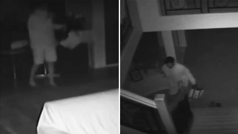 The four hooded thugs tip-toed barefoot around the Drewvale home located in Brisbane south side at 3am on Sunday. Photo: 7 News