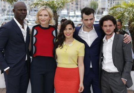 "(L-R) Cast members Djimon Hounsou who voices Drago Bludvist character, Cate Blanchett who voices Valka character, America Ferrera who voices Astrid character, Jay Baruchel who voices Hiccup character, and Kit Harington who voices Eret character pose during a photocall for the film ""How to Train Your Dragon 2"" out of competition at the 67th Cannes Film Festival in Cannes May 16, 2014. REUTERS/Regis Duvignau"