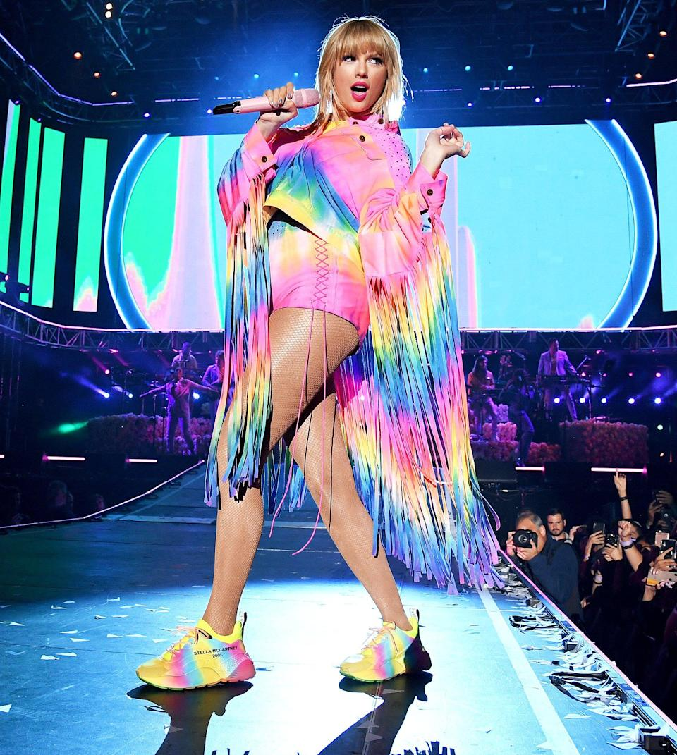 """Taylor has had to deal with her fair share of drama this year, but hopefully she's able to <a href=""""https://www.youtube.com/watch?v=nfWlot6h_JM"""" rel=""""nofollow noopener"""" target=""""_blank"""" data-ylk=""""slk:shake it off"""" class=""""link rapid-noclick-resp"""">shake it off</a> a bit when she checks her bank account and remembers that she's the world's highest-paid celebrity in 2019. Sure, a seemingly endless string of awards is nice — but so is topping the <a href=""""https://www.forbes.com/sites/monicamercuri/2019/07/10/taylor-swift-is-the-worlds-highest-paid-celebrity-with-185-million-in-2019/#6e940ea06c9d"""" rel=""""nofollow noopener"""" target=""""_blank"""" data-ylk=""""slk:Forbes Celebrity 100 list"""" class=""""link rapid-noclick-resp"""">Forbes Celebrity 100 list</a> for the second time (she previously landed the No. 1 spot in 2016). Largely thanks to her ultra-successful <i>Reputation Stadium Tour</i>, which beat out her <i>1989 World Tour</i>'s previous record as the highest-grossing domestic tour, Swift took home a pretax income of $185 million this year."""