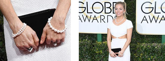 Sienna Miller in Tiffany pearls at the 2017 Golden GlobesPhoto by Kevork Djansezian/NBC/NBCU Photo Bank via Getty Images