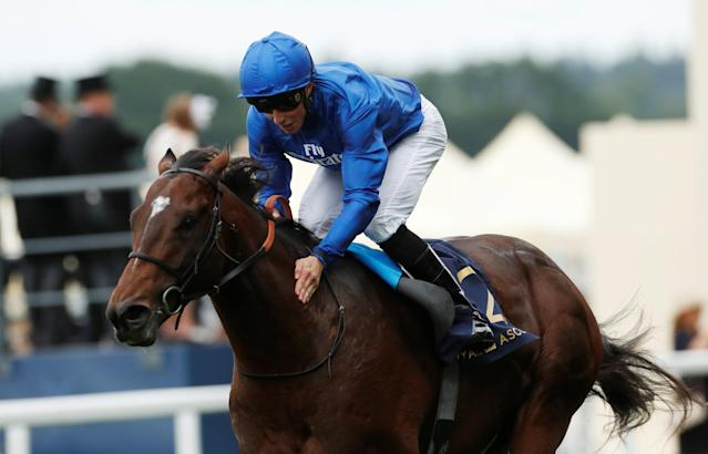 Horse Racing - Royal Ascot - Ascot Racecourse, Ascot, Britain - June 19, 2018 Blue Point ridden by William Buick in action during the 3:40 King's Stand Stakes REUTERS/Andrew Boyers