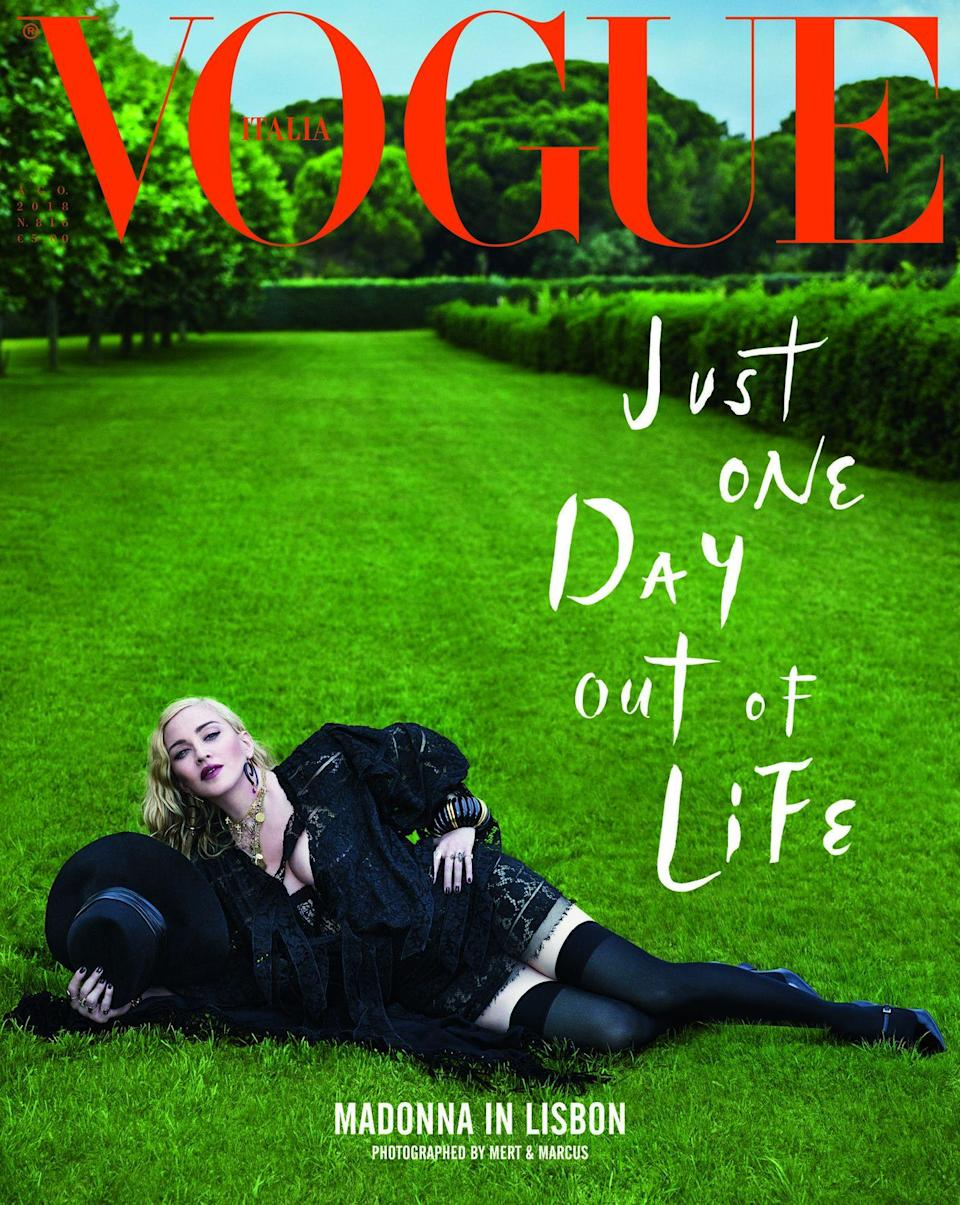 The cover of the August issue of Vogue Italia fronted by Madonna.