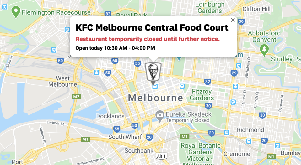Several KFC stores across Victoria have been closed or had store hours reduced due to a chicken shortage. Source: KFC