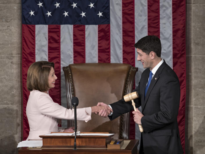 House Speaker Paul Ryan shakes hands with House Minority Leader Nancy Pelosi on Capitol Hill in Washington, D.C., on Jan. 3, 2017, after he was reelected to his leadership post as the 115th Congress convened. (Photo: J. Scott Applewhite/AP)