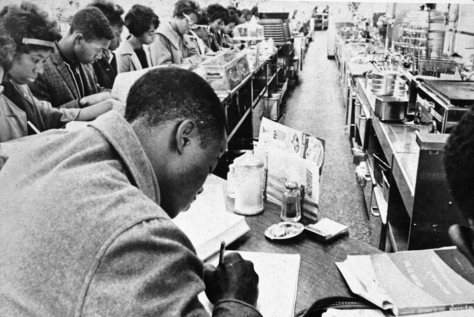 <p>A series of sit-ins were held throughout the '50s and '60s to protest segregation in restaurants and other public places. Though President Lyndon B. Johnson forbid the practice by signing the Civil Rights Act of 1964, black customers often still suffered unfair prices, poor service, and more.</p>