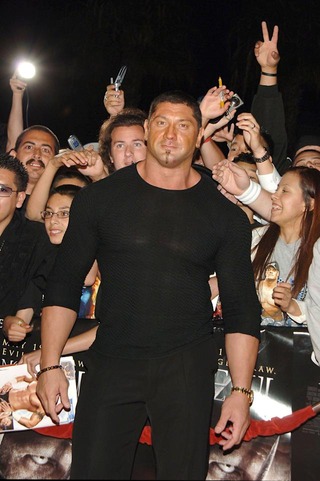 Batista, WWE Smackdown Superstar during 'See No Evil' Premiere - Arrivals in Los Angeles, California, United States. (Photo by J.Sciulli/WireImage for LIONSGATE)