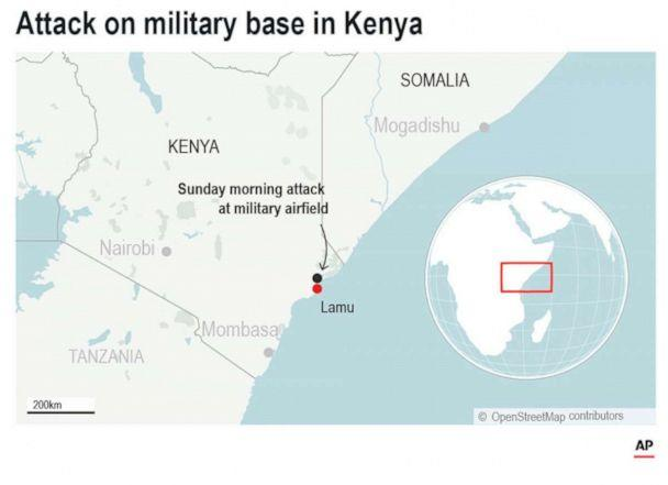 PHOTO: The al-Shabab extremist group said Sunday, Jan. 5, 2020, that it has attacked the Camp Simba military base used by U.S. and Kenyan troops in coastal Kenya. (AP)