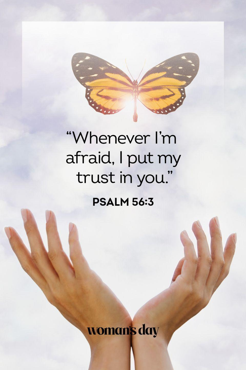 """<p>""""Whenever I'm afraid, I put my trust in you."""" </p><p><strong>The Good News: </strong>You can turn to God when you are anxious, and you can know that He will be there for you no matter what.</p>"""