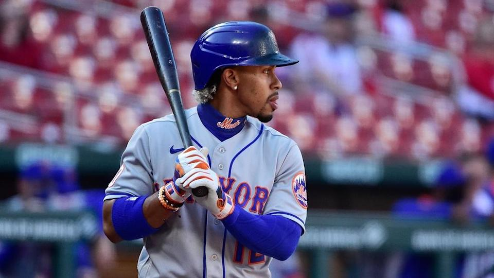 Francisco Lindor Mets at plate against Cardinals in St. Louis May 2021