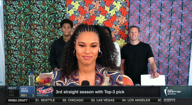Satou Sabally, the No. 2 overall pick on Friday, showed her cultural pride during the virtual WNBA draft. (ESPN screenshot)