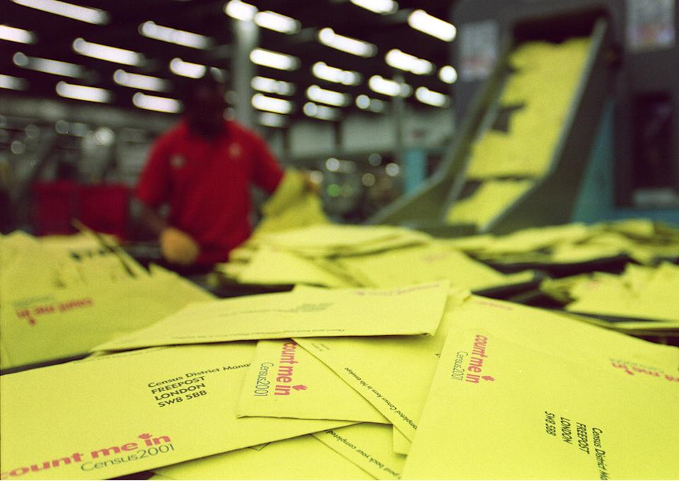 The scene at the South London Mail Centre, as a mountain of returned Census forms await processing.  4.5 million Census forms have already been returned in England and Wales, with millions more to come back over the next few days.