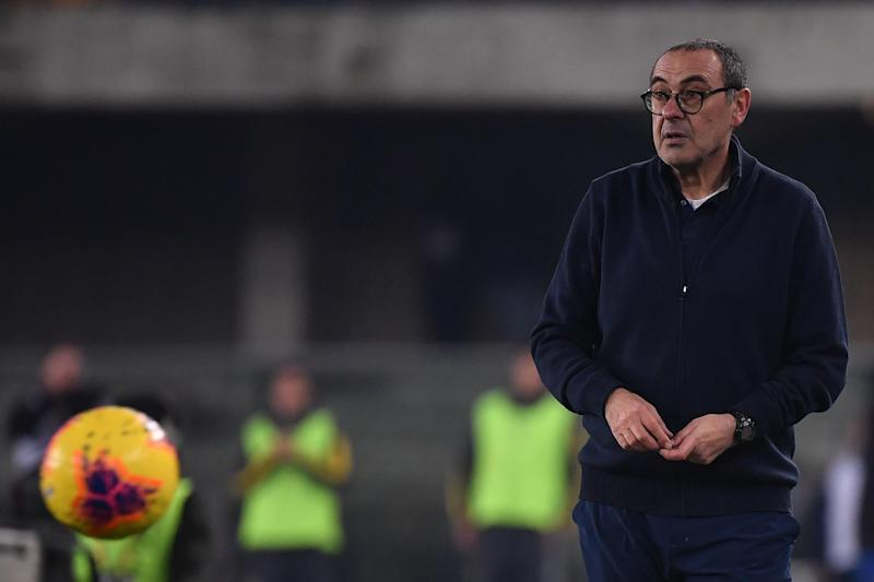 Juventus' coach Maurizio Sarri from Italy looks on during the Italian Serie A football match Hellas Verona vs Juventus on February 8, 2020, at the Marcantonio Bentegodi stadium in Verona. (Photo by MARCO BERTORELLO / AFP) (Photo by MARCO BERTORELLO/AFP via Getty Images)