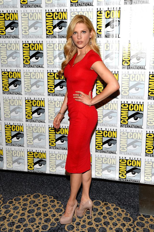 "Katheryn Winnick attends the ""Vikings"" Media Room during San Diego Comic Con 2013 at Hilton Bayfront on July 19, 2013 in San Diego, California."