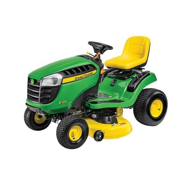 """<p><strong>John Deere</strong></p><p>homedepot.com</p><p><strong>$1999.00</strong></p><p><a href=""""https://go.redirectingat.com?id=74968X1596630&url=https%3A%2F%2Fwww.homedepot.com%2Fp%2FJohn-Deere-S120-42-in-22-HP-V-Twin-Gas-Hydrostatic-Lawn-Tractor-BG21272%2F314278217&sref=https%3A%2F%2Fwww.countryliving.com%2Fgardening%2Fgarden-ideas%2Fg36728568%2Fbest-riding-lawn-mowers%2F"""" rel=""""nofollow noopener"""" target=""""_blank"""" data-ylk=""""slk:Shop Now"""" class=""""link rapid-noclick-resp"""">Shop Now</a></p><p>Sometimes you just want a classic. This basic riding mower has all of John Deere's quality in a price that won't break the bank. Reviewers love the way it handles tall grass and gentle slopes, the cushion of the ride, and the uncomplicated function.</p>"""