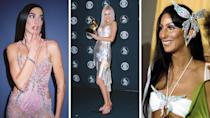 Dua Lipa stunned at the Grammys in a sparkly Versace dress with a butterfly motif, and channeled two other iconic artists, Cher and Christina Aguilera in the process.