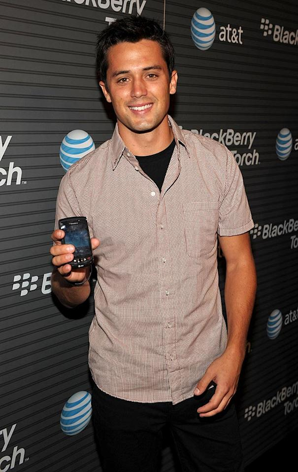"""One Tree Hill"" actor Stephen Colletti showed off his latest accessory -- the BlackBerry Torch. John Shearer/<a href=""http://www.wireimage.com"" target=""new"">WireImage.com</a> - August 11, 2010"