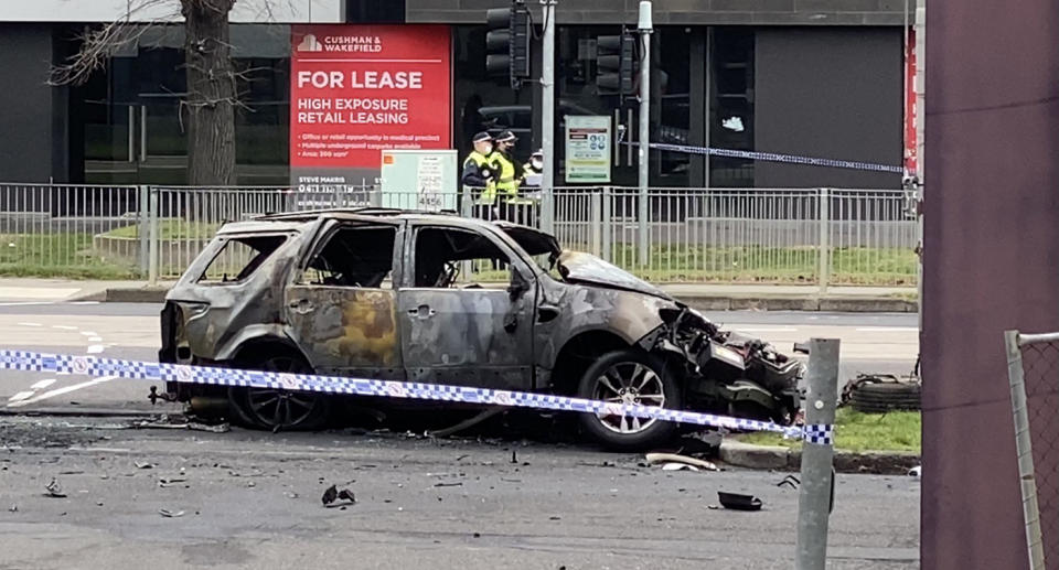 The crash claimed the lives of a woman and her two children.  Source: Twitter