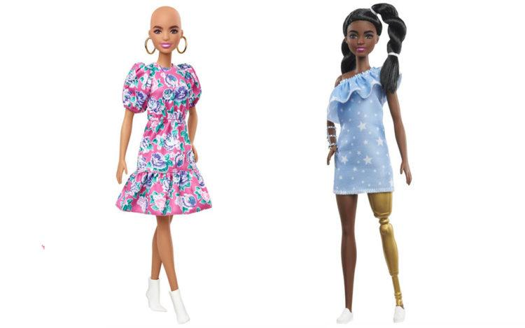 Bald Barbie and Barbie with Prosthetic leg