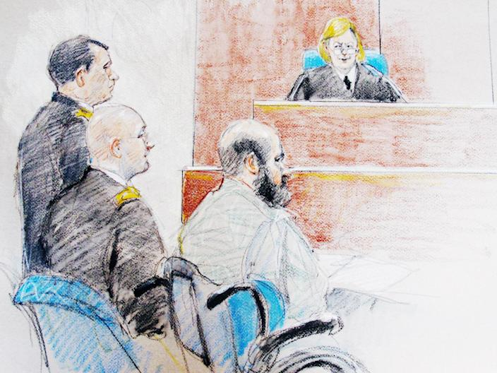 FILE - This June 11, 2013, file courtroom sketch shows U.S. Army Maj. Nidal Hasan, right, sitting by his former defense attorneys Maj. Joseph Marcee, far left, and Lt. Col. Kris Poppe, center, during a hearing at Fort Hood, Texas. Hasan is charged in the 2009 shooting rampage at Fort Hood that left 13 dead and more than 30 others wounded. Hasan doesn't deny that he carried out the rampage, but military law prohibits him from entering a guilty plea because authorities are seeking the death penalty. If he is convicted and sentenced to death in a trial that starts Tuesday, Aug. 6, 2013, there are likely years, if not decades, of appeals ahead. (AP Photo/Brigitte Woosley, File)