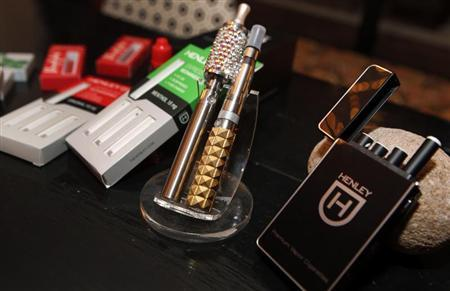Various e-cigarette products for sale are seen at the Henley Vaporium in New York City