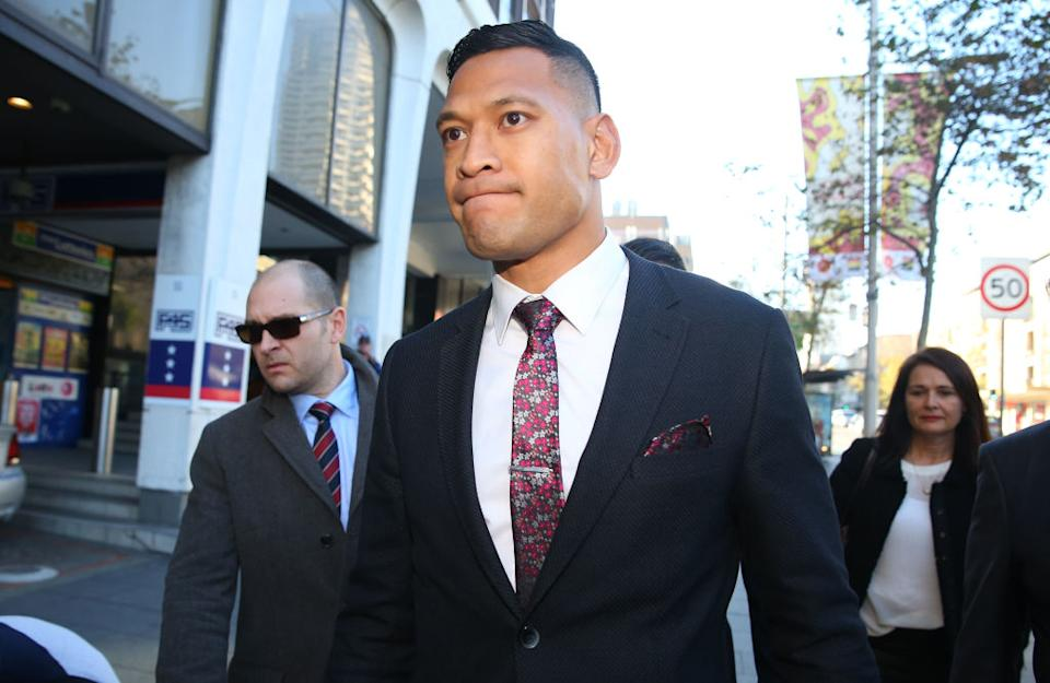Israel Folau arrives ahead of his conciliation meeting with Rugby Australia at Fair Work Commission on June 28, 2019 in Sydney, Australia. (Photo by Don Arnold/Getty Images)