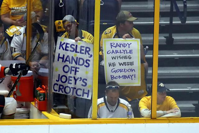 <p>Nashville Predators fans hold signs during the first period in Game Three of the Western Conference Final between the Anaheim Ducks and the Nashville Predators during the 2017 Stanley Cup Playoffs at Bridgestone Arena on May 16, 2017 in Nashville, Tennessee. (Photo by Frederick Breedon/Getty Images) </p>