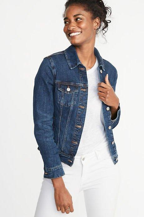 """<p><strong>BUY IT: $39.99; <em><a href=""""http://www.anrdoezrs.net/links/7885610/type/dlg/sid/SL%2CRX_1907FallJackets_OldNavyDenimJacket%2Csimsj%2C%2CIMA%2C622637%2C201907%2CI/https://oldnavy.gap.com/browse/product.do?pid=390801002&cid=1022681&pcid=55474&grid=pds_16_51_1#pdp-page-content"""" target=""""_blank"""">oldnavy.com</a></em></strong></p> <p> A classic, dark-wash denim jacket should be a staple in your fall wardrobe. </p>"""