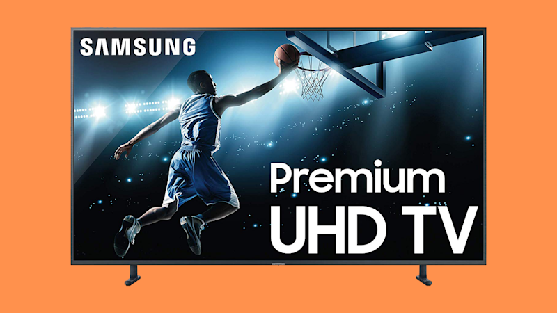 Samsung 65-inch 4K TV on orange background. (Photo: Amazon)