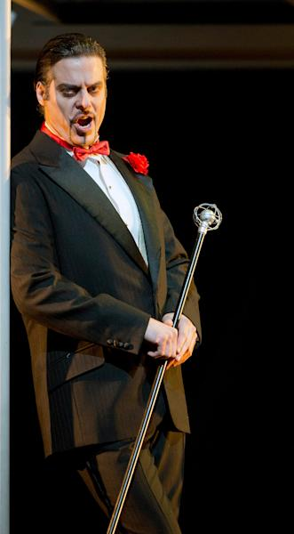 "In this March 18, 2013 photo provided by the Metropolitan Opera, John Relyea plays Méphistophélès during a dress rehearsal of ""Faust"" at the Metropolitan Opera in New York. (AP Photo/Metropolitan Opera, Cory Weaver)"