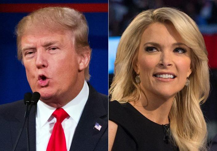This combination made from Aug. 6, 2015 photos shows Republican presidential candidate Donald Trump, left, and Fox News host and moderator Megyn Kelly during the first Republican presidential debate in Cleveland. (AP Photo/John Minchillo)