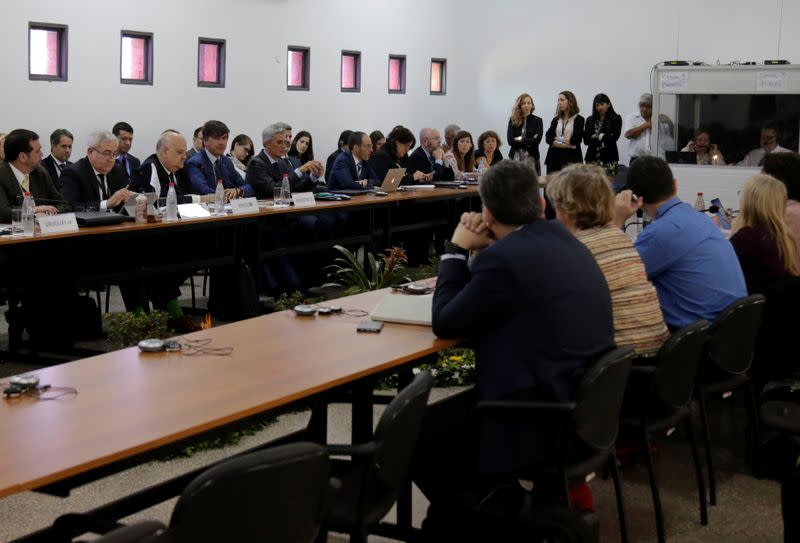 Negotiators for the Latin American bloc Mercosur and the European Union meet to continue discussions on a free trade deal, in Luque