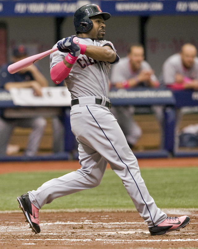 Cleveland Indians' Michael Bourn hits a two-run double off Tampa Bay Rays starter Chris Archer during the second inning of a baseball game on Sunday, May 11, 2014, in St. Petersburg, Fla. (AP Photo/Steve Nesius)
