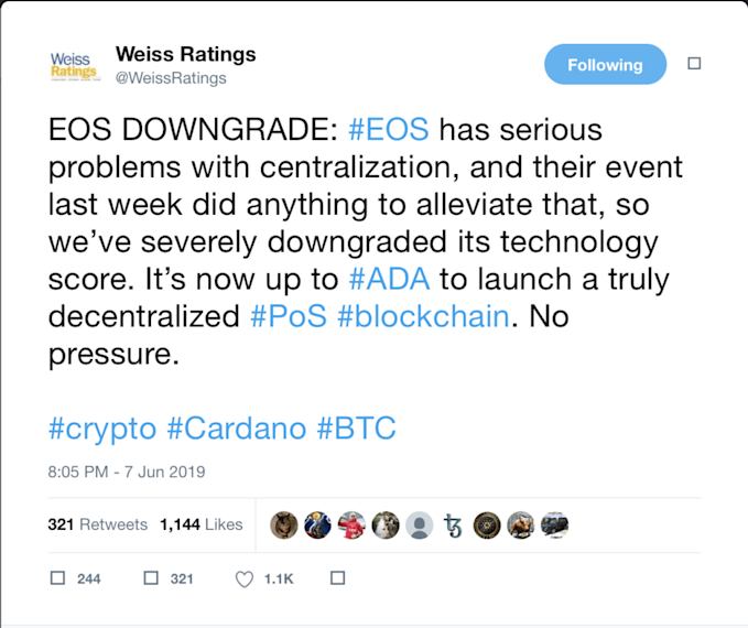 Weiss Crypto Ratings Drops EOS Over Centralization Concerns but Who