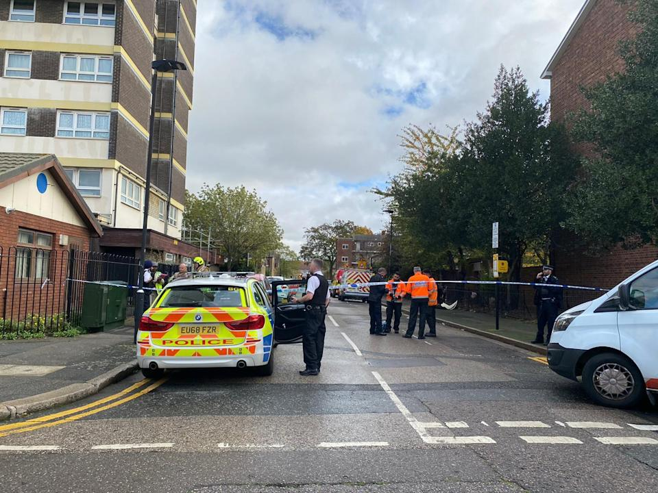 Emergency Services at the scene in Weddington Street in Stratford after a man died following a suspected gas explosion. (@999London)