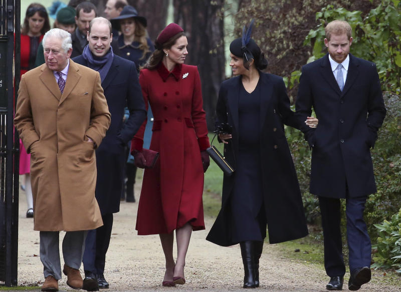 Photo by: KGC-22/STAR MAX/IPx 2018 12/25/18 Prince Charles, Prince William, Duchess Catherine, Prince Harry and Duchess Meghan attend the Christmas Day church service at Sandringham, Norfolk.