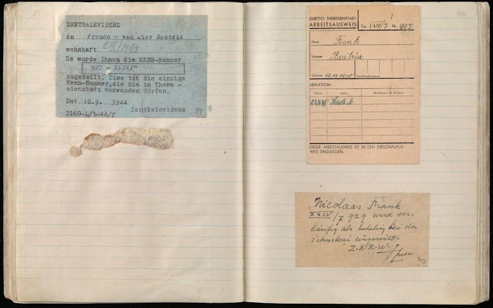 The work card issued to Beatrix Frank in Theresienstadt concentration camp - Imperial War Museum