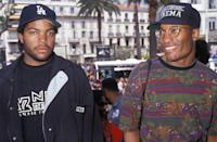 <p>Ice Cube with John Singleton, director of the film Boyz N the Hood, at the Cannes Film Festival in May 1991.</p>