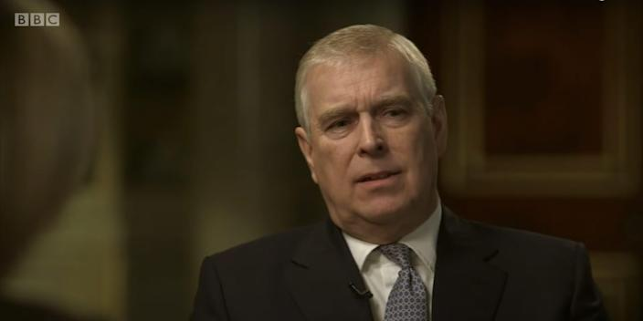 Prince Andrew appearing on BBC Newsnight with Emily Maitlis.