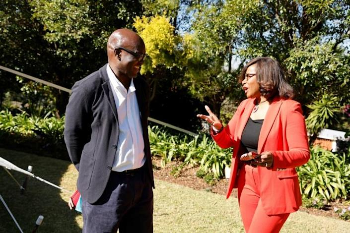 Mbembe, here with France's junior minister of gender equality,raised eyebrows when he accepted an invitation by French President Emmanuel Macron to lead preparations for the upcoming Africa-France summit