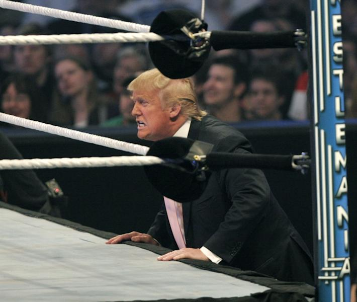 Donald Trump, seen here cheering during the Battle of the Billionaires at the 2007 Wrestlemania, is an avid fan of the WWE spectacle