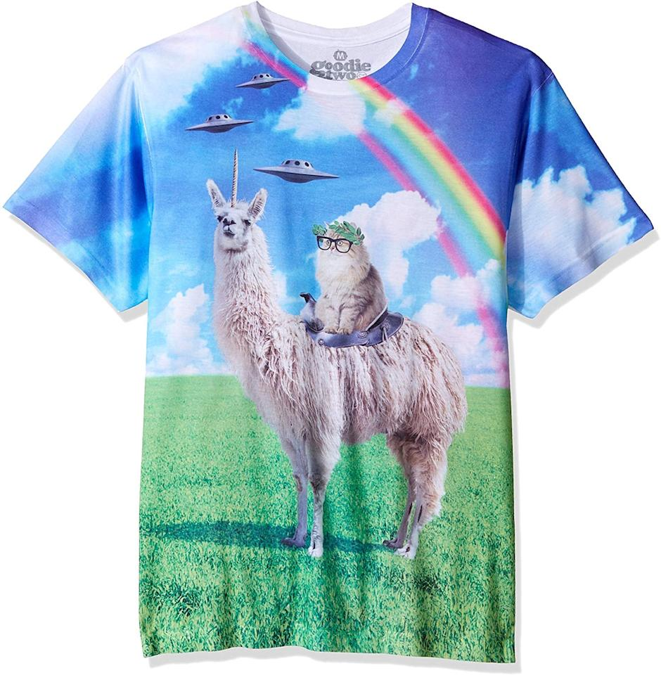 """<p>This <a href=""""https://www.popsugar.com/buy/Goodie-Two-Sleeves-Humor-Cat-Rides-Llamacorn-Adult-T-Shirt-497529?p_name=Goodie%20Two%20Sleeves%20Humor%20Cat%20Rides%20Llamacorn%20Adult%20T-Shirt&retailer=amazon.com&pid=497529&price=20&evar1=savvy%3Aus&evar9=46710487&evar98=https%3A%2F%2Fwww.popsugar.com%2Fsmart-living%2Fphoto-gallery%2F46710487%2Fimage%2F46710952%2FGoodie-Two-Sleeves-Humor-Cat-Rides-Llamacorn-Adult-T-Shirt&list1=shopping%2Choliday%2Chumor%2Cgift%20guide%2Cwhite%20elephant%20gifts&prop13=mobile&pdata=1"""" rel=""""nofollow"""" data-shoppable-link=""""1"""" target=""""_blank"""" class=""""ga-track"""" data-ga-category=""""Related"""" data-ga-label=""""https://www.amazon.com/dp/B01N64FCRE/ref=cm_gf_aWE_i03_d_p0_c0_qd31__________________EhO1sPQuDkFN3BlhKVEm?th=1&amp;psc=1"""" data-ga-action=""""In-Line Links"""">Goodie Two Sleeves Humor Cat Rides Llamacorn Adult T-Shirt</a> ($20) is a lot to take in.</p>"""