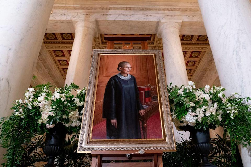 <p>A 2016 portrait of Associate Justice Ruth Bader Ginsburg by artist Constance P. Beaty is displayed in the Great Hall following a private ceremony for her at the U.S. Supreme Court, on September 23, 2020 in Washington, DC.</p>