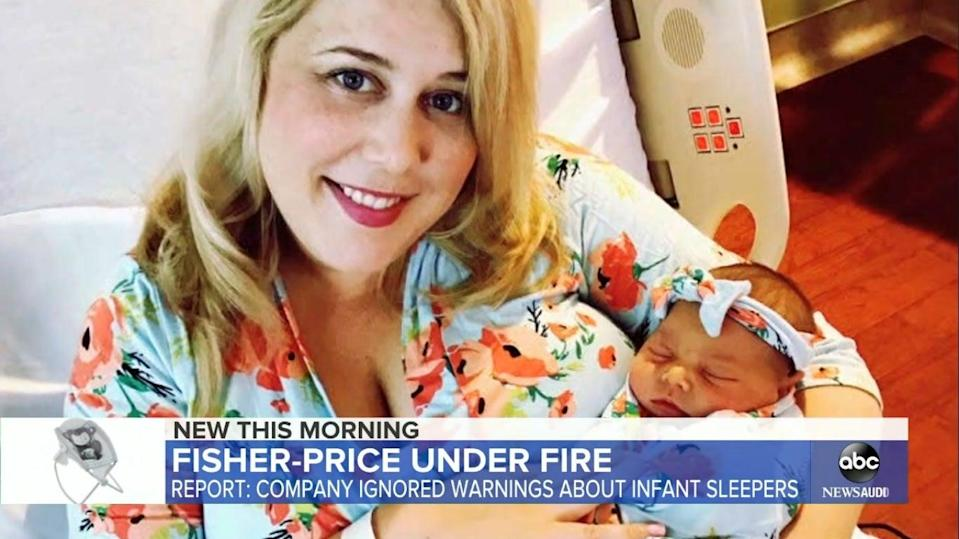 File image of Erika Richter with her daughter Emma, who died in a Fisher-Price Rock 'n Play Sleeper in 2018  (ABC news)