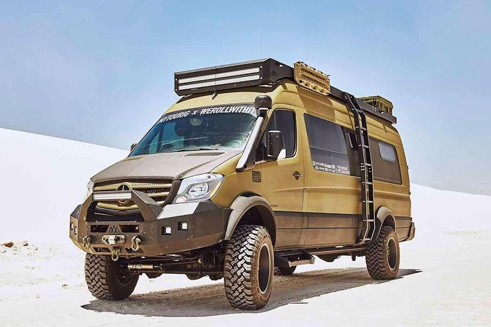 """<p>While this hulking van — nicknamed """"Bruce Banner"""" for reasons we hope we don't have to explain to you — may have started out as a simple two-wheel-drive Mercedes-Benz Sprinter cargo van, like the old Virginia Slims ads used to say, it's come a long way, baby.</p><p><a class=""""link rapid-noclick-resp"""" href=""""https://www.gearpatrol.com/cars/a33348315/mercedes-camper-van-tourig-bruce-banner-off-roader/"""" rel=""""nofollow noopener"""" target=""""_blank"""" data-ylk=""""slk:LEARN MORE"""">LEARN MORE</a></p>"""
