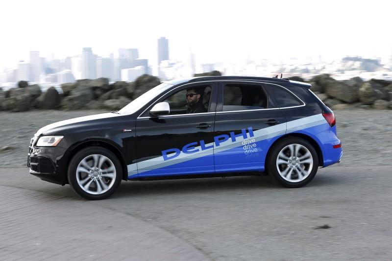 Autonomous car from Delphi departs Treasure Island for a cross-country trip from San Francisco to New York City in San Francisco