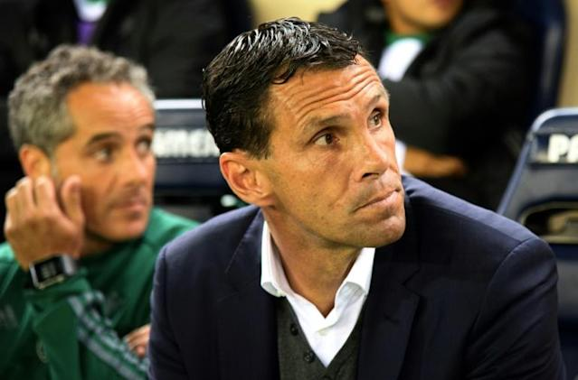Then-Betis coach Gustavo Poyet looks on prior to the Spanish league football match against Villarreal November 6, 2016