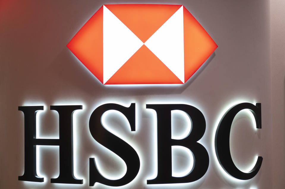 British multinational banking and financial services holding company HSBC logo is seen in Hong Kong. (Photo by Budrul Chukrut / SOPA Images/Sipa USA)