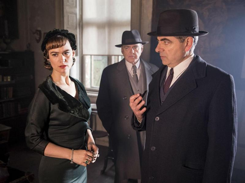 Mia Jexen as Else, McNally as Grandjean and Atkinson as Maigret