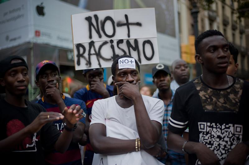 Demonstrators during a march against racism and police in Barcelona (Spain) on 11 August 2015. Several hundred people demonstrated in Barcelona against racism because of the death of a Senegalese citizen in Salou (coastal town several kilometres south Barcelona) during a police operation. (Photo by Jordi Boixareu/NurPhoto) (Photo by NurPhoto/NurPhoto via Getty Images)